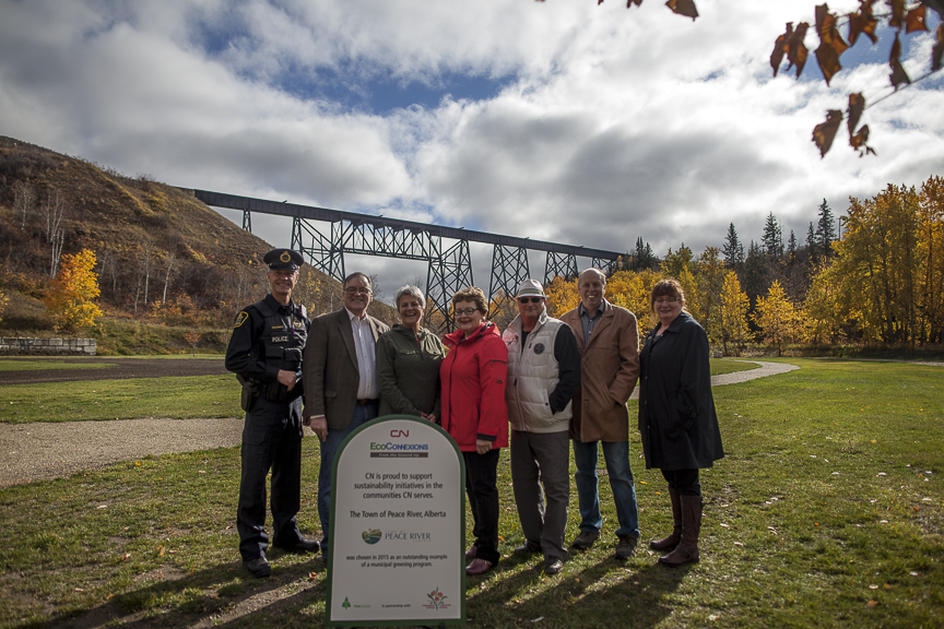 Constable Dean Solowan, Community Services Officer CN Police Service, Tom Tarpey, Mayor Town of Peace River, Elaine Manzer, Deputy Mayor Town of Peace River, Terry Sawchuk, Councillor Town of Peace River, Rod Burr, Councillor Town of Peace River, Caroline Kolebaba, Deputy Reeve Northern Sunrise County