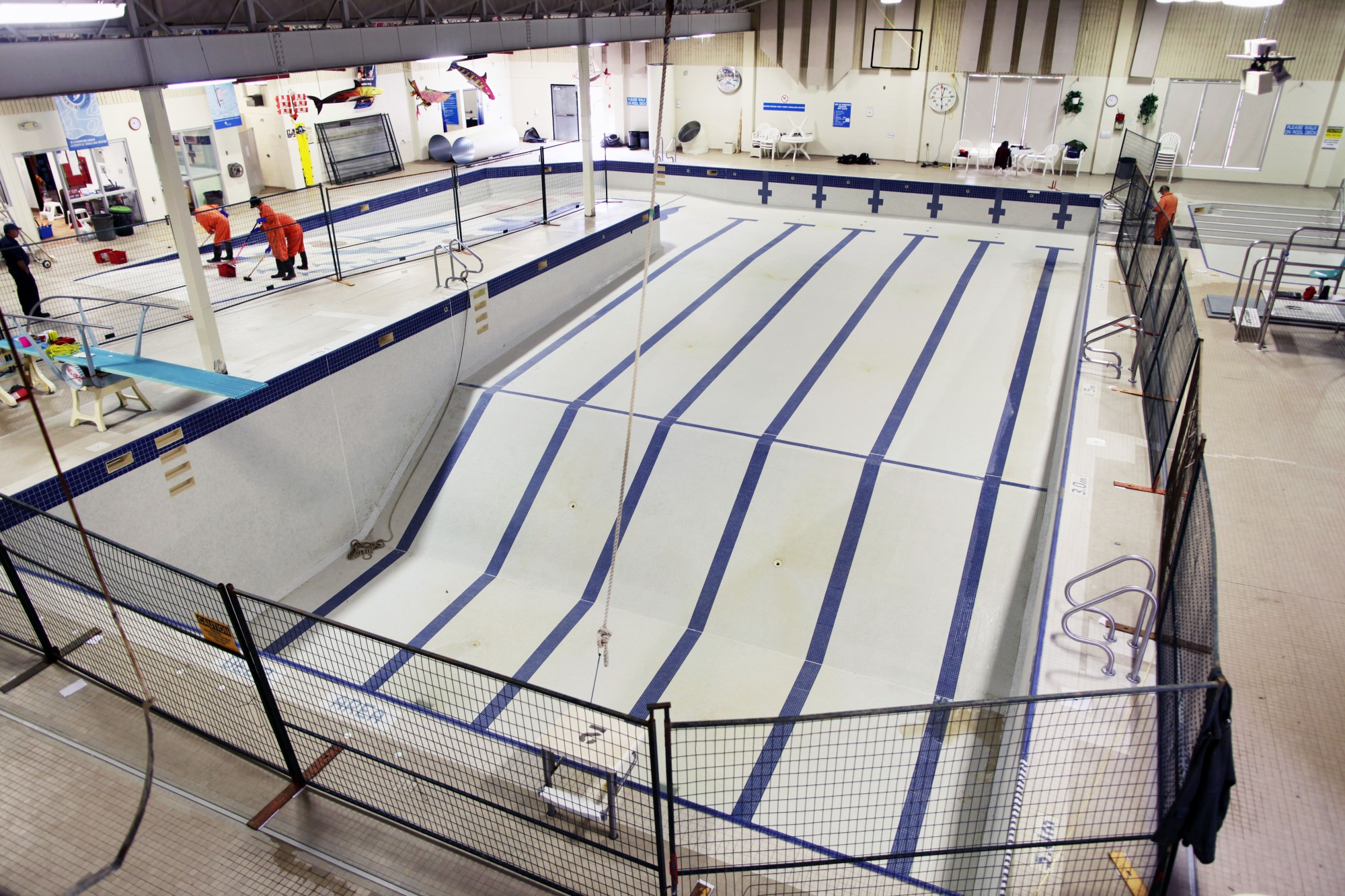The pool had to be completely drained in order to be properly cleaned.