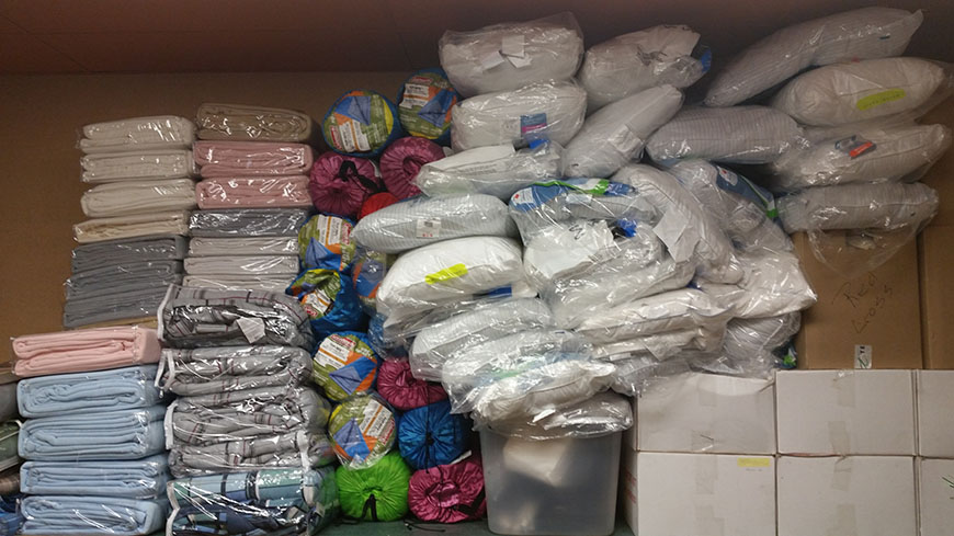 This photo shows the items we hope to never have to open. The Town of Peace River keeps a stock of bedding stored in the Town office, along with a number of emergency supplies in the event we ever have to issue an evacuation or open a reception centre.