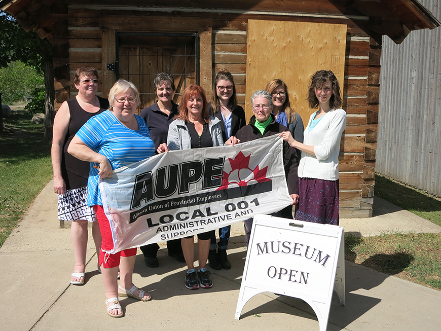 Thanks to the AUPE Local 001 for their donation of $400 Back Row: (l-r) AUPE representatives Faye Rever and Cheryl Banack, Young Canada Works Museum summer students Kieryn Houlder and Madeline Martel Front Row: (l-r) AUPE representatives Lynne Brais and Audrey Randall, Museum Researcher Beth Wilkins and Collections Technician Laura Love