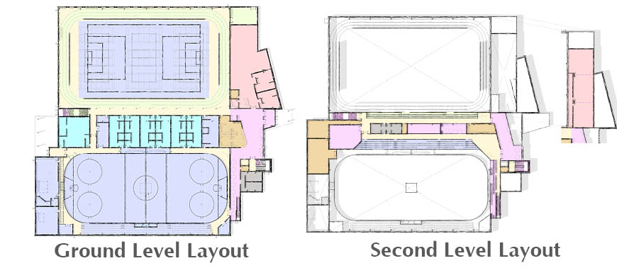 A spatial drawing of the main floor shows the rough layout of the new Peace Regional Recreation Centre's amenities.