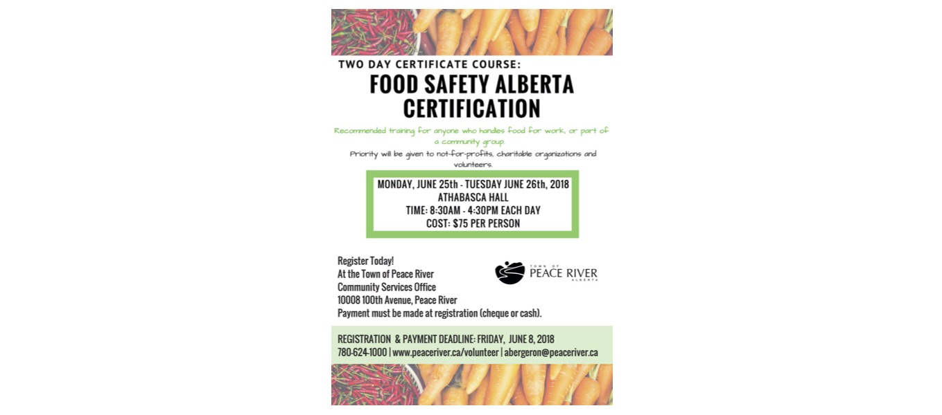 Food Safety Alberta Certification Course Town Of Peace River
